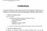 Communiqué avance sur pension 2019