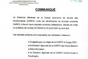 COMMUNIQUE AUX BOURSIERS DE L'ANNÉE SCOLAIRE 2019-2020